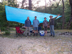 Hugh Jones, David Crass, Felicity Sturgiss and Rob McCormack, another rainy day camping on the Clyde River